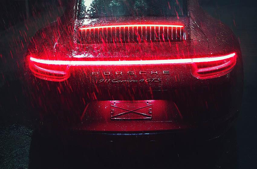 Porsche in rain